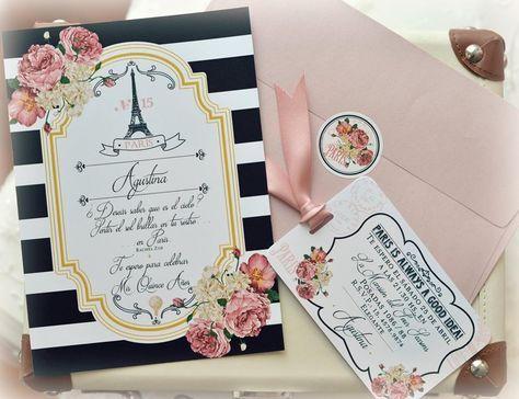 Paris!!!!!! Siempre un lindo tema para las quinceañeras. Nuestra nueva línea de tarjetas para 15 años estilo parisinas viene con líneas románticas y flores que le dan el toque de color para lograr …