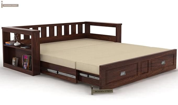 Riota Couch Cum Bed With Storage (Walnut Finish)-7