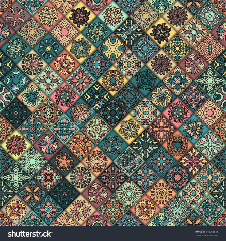 Colorful Vintage Seamless Pattern With Floral And Mandala Elements.Hand Drawn Background. Can Be Used For Fabric, Wallpaper, Tile, Wrapping, Covers And Carpet. Islam, Arabic, Indian, Ottoman Motifs. Стоковое векторное изображение 548768548 : Shutterstock