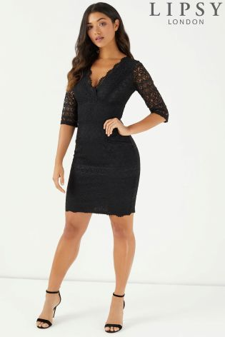 5266a33fe537 Buy Lipsy 3/4 Sleeve All Over Lace Bodycon Dress from the Next UK online  shop