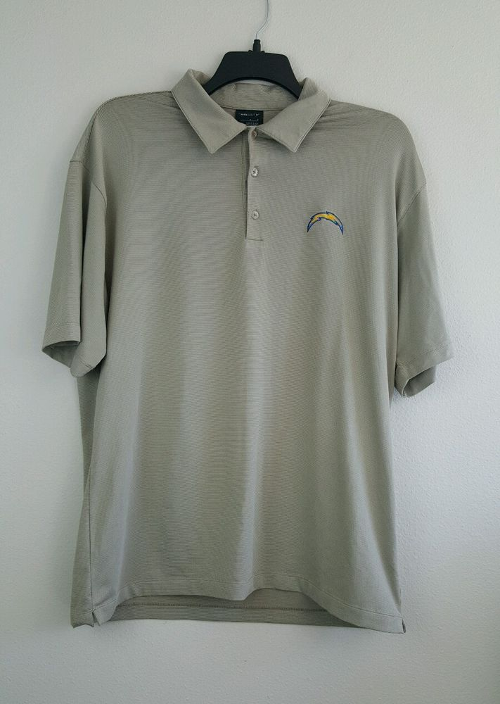 San Diego CHARGERS Nike Golf logo lightning bolt Polo Shirt Men's Large Taupe  #Nike