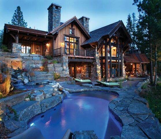 Omg what is air? Modern log cabin I'm going to faint! Love!