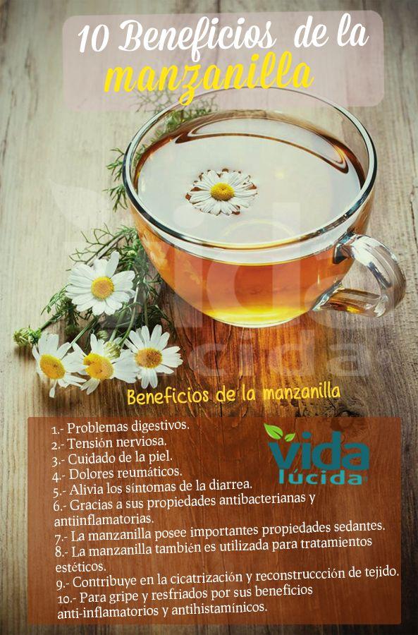 Conoce estos 10 beneficios de la manzanilla. Ver más recetas en http://www.lavidalucida.com/search/label/Beneficios%20de%20alimentos