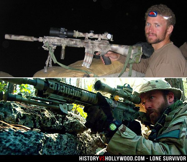 Top is Navy SEAL Matthew 'Axe' Axelson, portrayed in the Lone Survivor movie by actor Ben Foster (bottom). Discover the true story at HistoryvsHollywood.com.