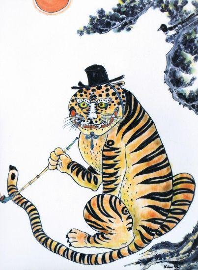 Red Tiger. Kim So Sun.  tiger, magpie, pipe, hat