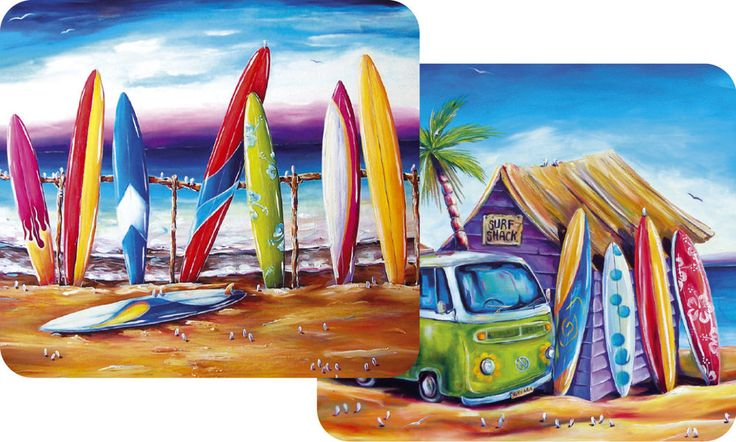 Placemat set of 2 - Surf Shack Beach House Theme with cool Kombi & Surf boards