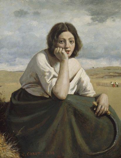 Jean-Baptiste Camille Corot - La Moissonneuse tenant sa faucille, la tête appuyée sur la main, 1838 - Corot. Le peintre et ses modèles - Musée Marmottan Monet - Du 8 février au 8 juillet 2018 - © Boston Museum of Fine  Arts