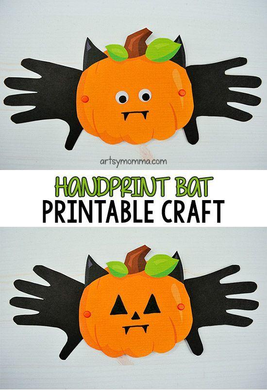 Printable Vampire Bat Pumpkin Craft Preschool Activities and