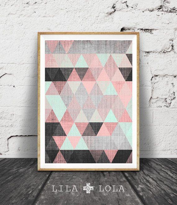Arte PARED geométrica de impresión, para imprimir, negro rosa y menta verde Decor, abstracto, moderno mediados de siglo, escandinavo para imprimir descargar