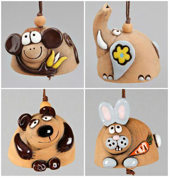 Small Ceramic Bells: Monkey, Rabbit, Elephant, Bear. Scool Accessory, Christening Souvenir, Children Toy.