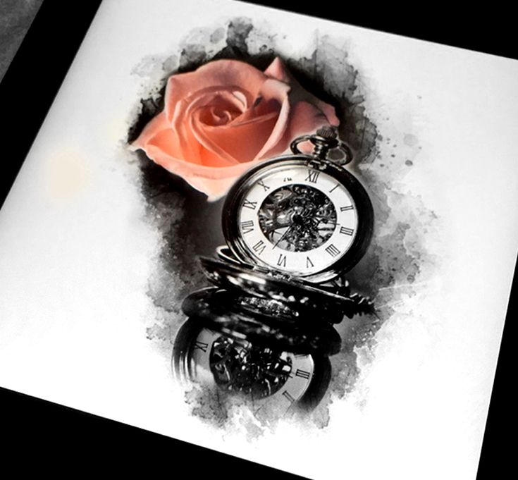Realistic rose and pocket watch tattoo design done by Brandon Marques. Timeless Tattoo Studio, Toronto, ON. For appointments and info visit our website or email: info@timelesstattoos.ca