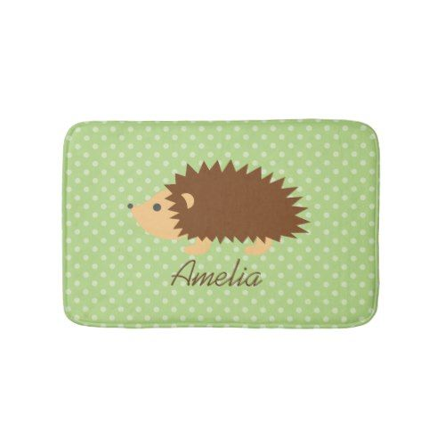 Personalized name kids bath mat with cute hedgehog