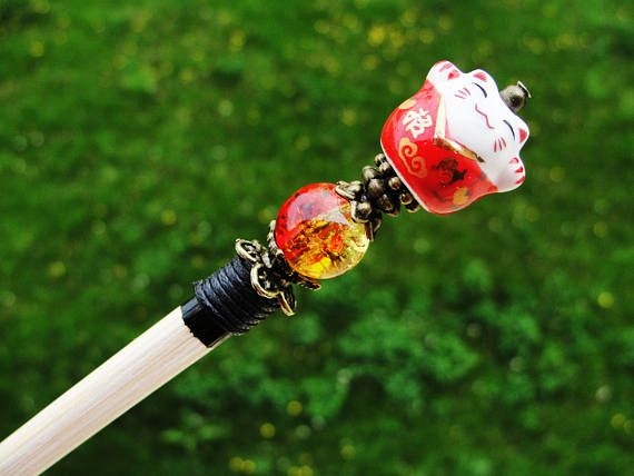 Wooden hair stick and ceramic maneki neko fortune lucky cat with red yellow bead - japanese kanzashi hair pin wood chopstick hairpiece