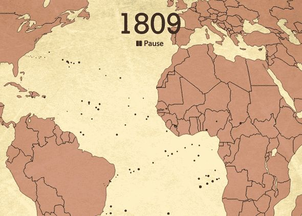 Animated map showing the voyage of millions of slaves over 200 years in a matter of minutes.