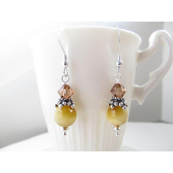 Miele di orecchini occhio di tigre, orecchini della pietra preziosa,... ($21) ❤ liked on Polyvore featuring jewelry