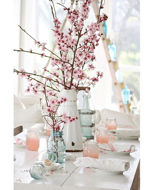 milky pink, white and blue - a spring palette