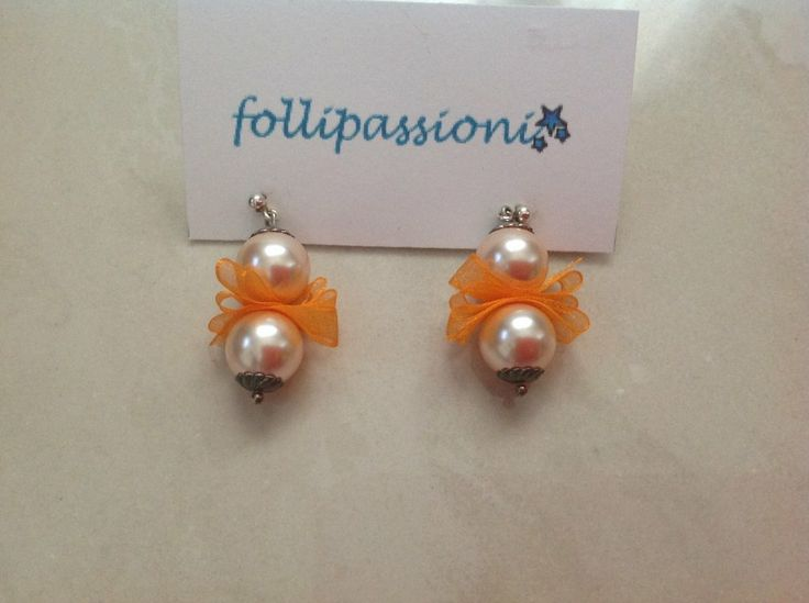 Orecchini perle e raso by follipassioni, by Follipassioni, 10,00 € su misshobby.com