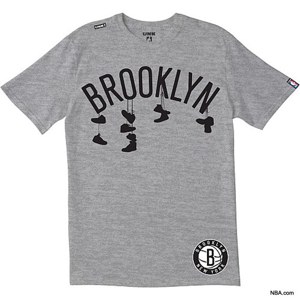 This shirt is for the Brooklyn Nets, the NBA team formerly known as the New Jersey Nets. This gives the Nets brand a sense of place no other team has.