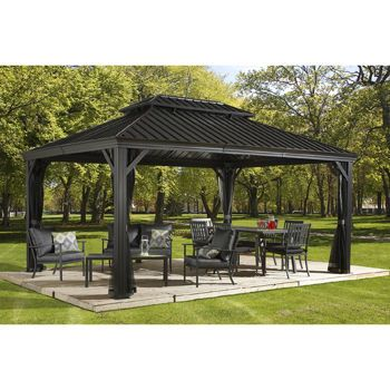 Sojag Messina Galvanized-Steel-Roof Sun Shelter 10x10 at Costco for $1200 including shipping and netting.