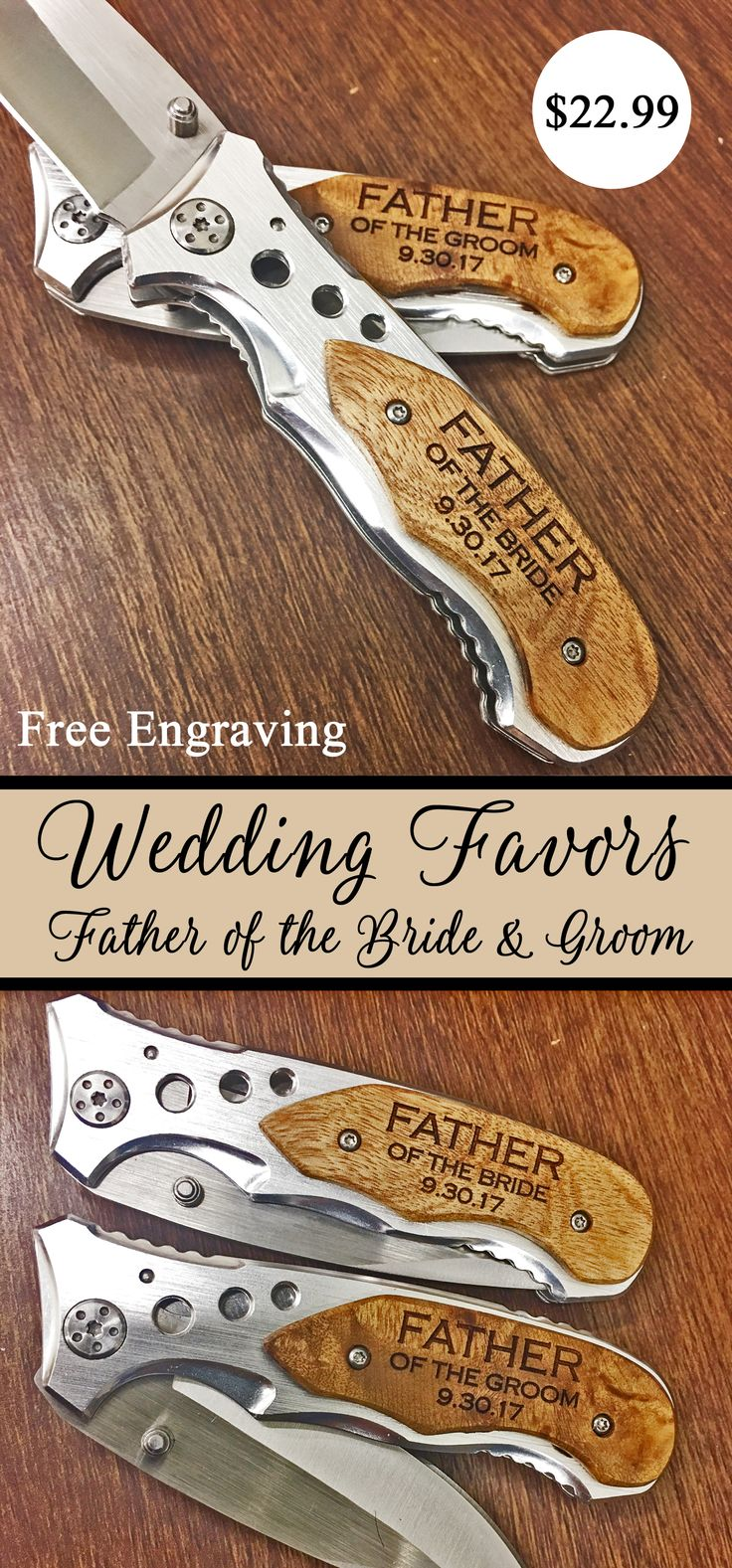 Your wedding is such a special day not just for your but also for your parents.  Give your Dad a special gift that will help him remember your amazing wedding day.  Our unique custom engraved pocket knives are also a great gift for the father of the bride and groom.  And don't forget about your groomsmen, best man, ushers, and uncles!