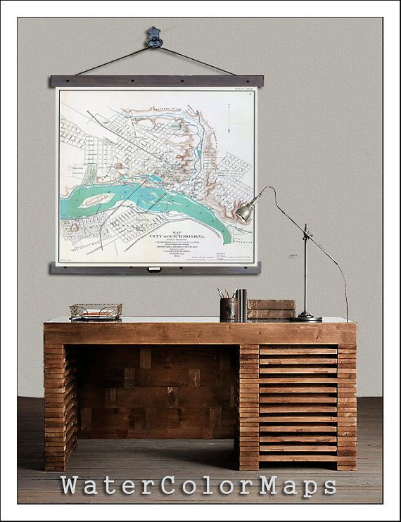 213 best missing the river city images on pinterest richmond richmond virginia vintage richmond va hanging map 44w x 48 malvernweather Images