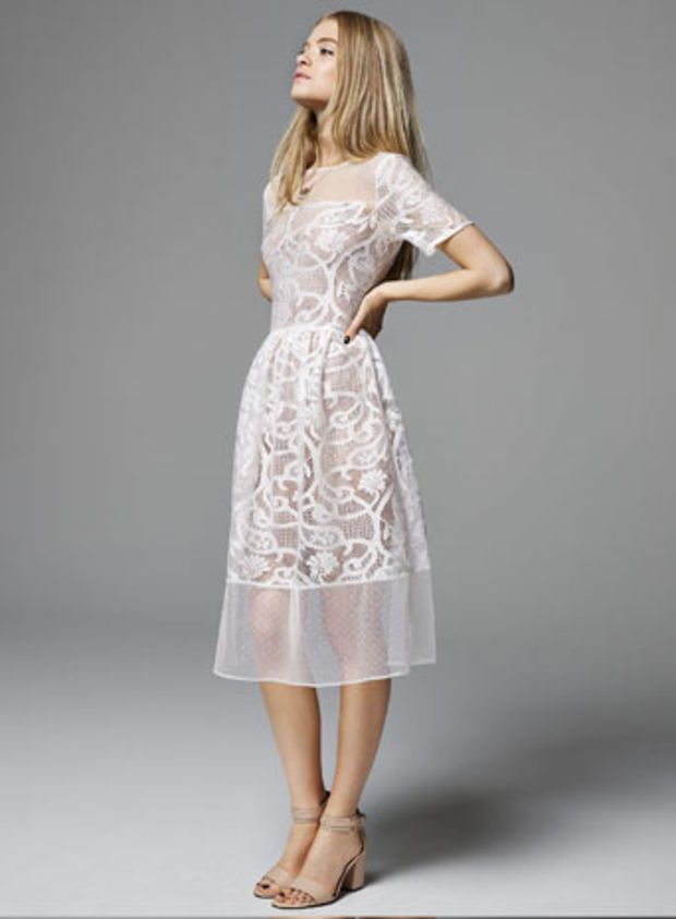White Dobby Lace Midi Dress - Clothing - New In