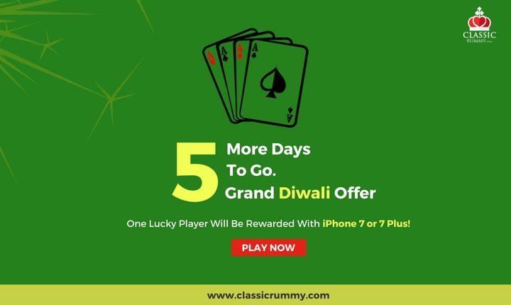 Just 5 More Days To Go. One Lucky Player Will Be Rewarded With iPhone 7 or 7 Plus.  #iphone #apple #ios #mobile #diwali #gift #rummy