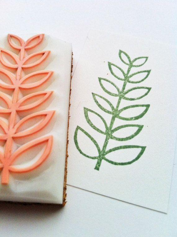 leaf hand carved rubber stamp. handmade rubber stamp. mounted. no2.