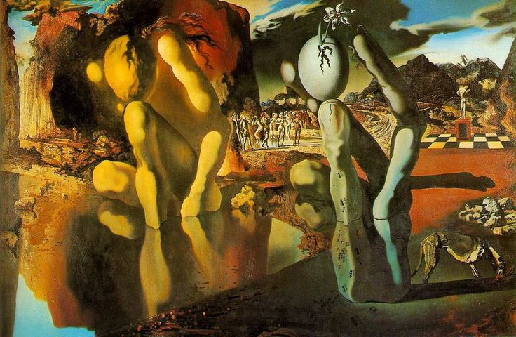 This painting by Dali shows the transformation of Narcissus, kneeling in the pool, into the hand holding the egg and flower. Narcissus as he was before his transformation is seen posing in the background. This shows how he could not embrace his own love for himself and for that reason he died of frustration.  Metamorphosis of Narcissus by Salvador Dali