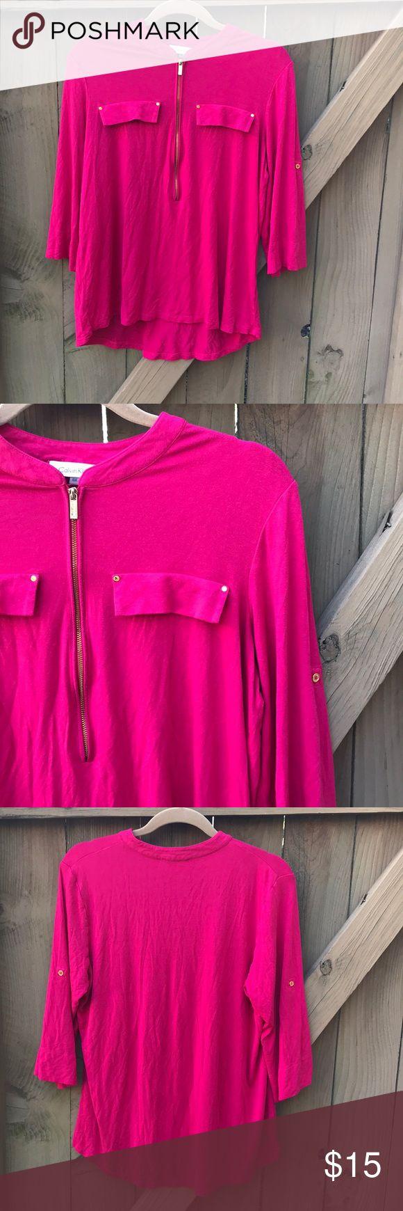 Calvin Klein hot pink blouse size 0X Calvin Klein hot pink blouse size 0X: armpit to armpit 20 in, shoulder to hem 26 in. Bin 18. Calvin Klein Tops Blouses