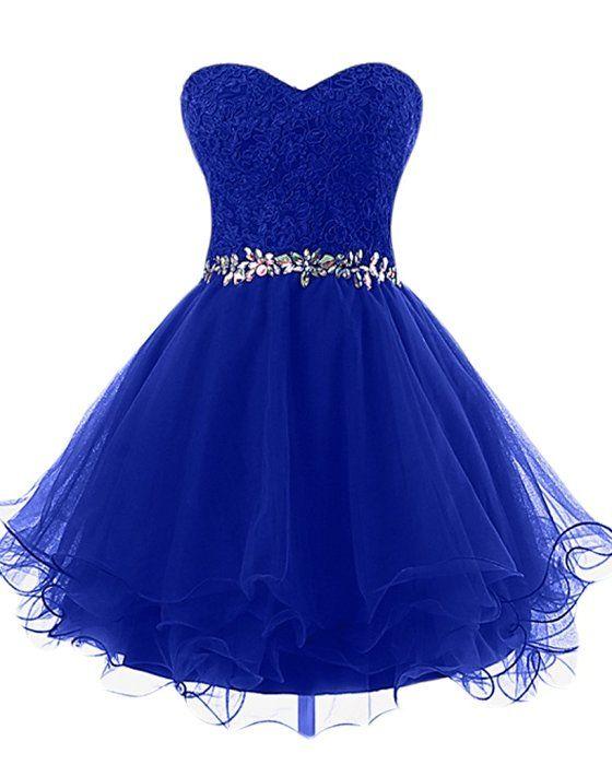 Victory Bridal Romantisch Spitze Kurz Cocktailkleider Herzausschnitt Mini Abendkleider Ballkleider Promkleider -58 Royal Blau