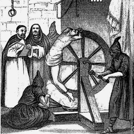 The Catherine wheel. In this device, the tourture-ee in question would have his/her limbs to tied to the spokes of a giant wheel, which would rotate until the bones broke.
