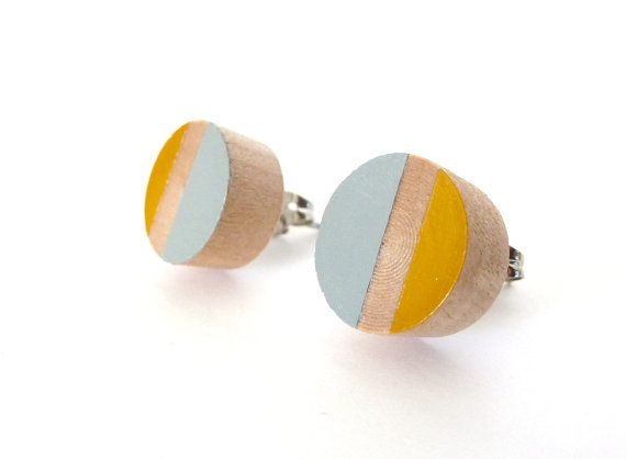 Gray and mustard yellow wood post earrings, colorblock earrings, stud earrings, spring earrings, neutral earrings