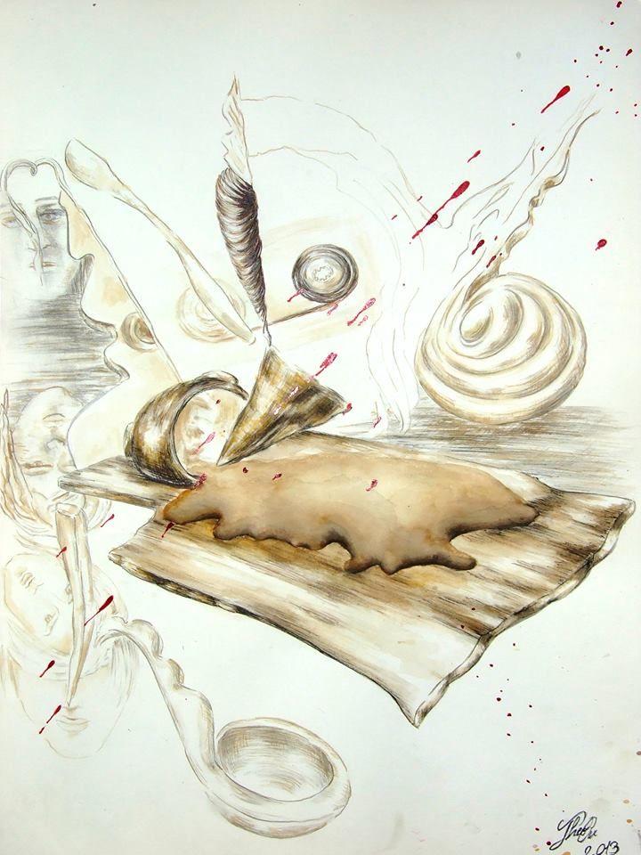 """Breakfast: The Observer's Sound"" - graphite, inks and coffee on paper A3/ creion grafic, tușuri negru și rosu, cafea pe hârtie A3"