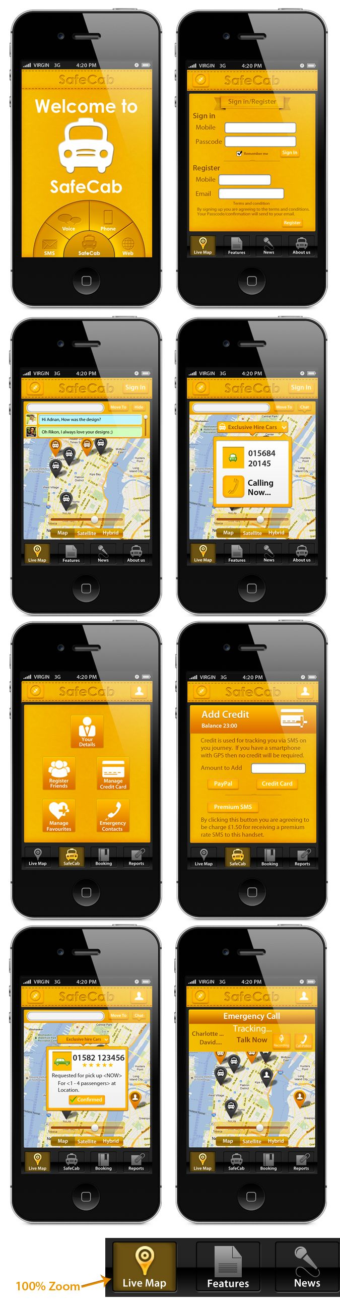 Safecab mobile app design