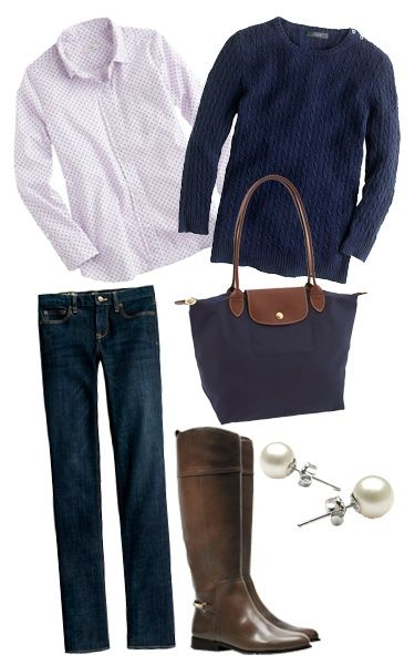 Business casual work outfit: navy sweater, polka dot button up, skinnies & brown boots.