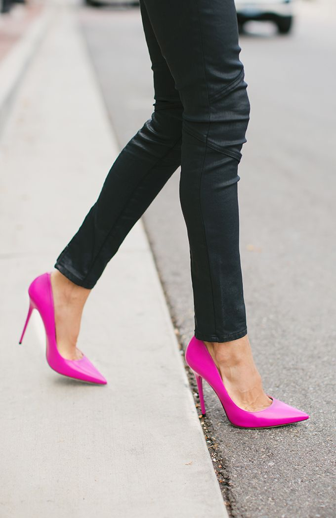Pump up your fall look with these bright pink heels (via Hello Fashion Blog)