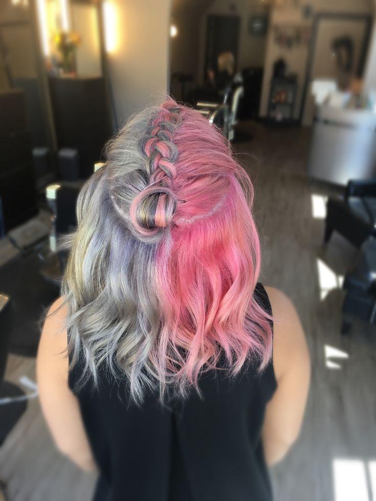 Top Knot / Braid/ Dutch Braid/ pink hair/ silver hair/ pravana / medium length hair/ half and half