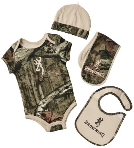 Browning Infant Boys Camo Bodysuit Hat Bib Burp Rag