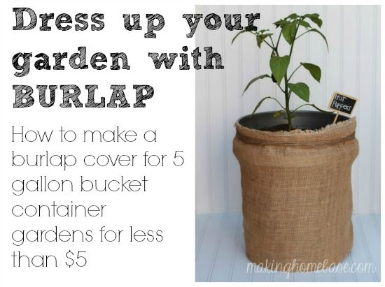 Hide 5 Gallon Buckets With DIY Burlap Bags http://www.hometalk.com/1662318/hide-5-gallon-buckets-with-diy-burlap-bags