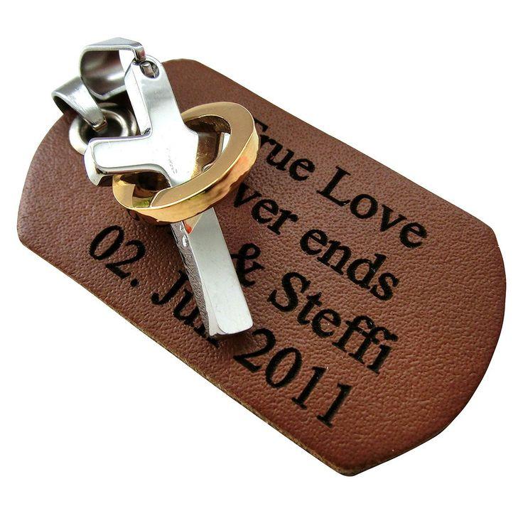 Gravur Leder Dog Tag und Edelstahlanhänger Kreuz mit Ring  mit Wunschgravur z.B. True Love never Ends. Inklusive Kette. #Anhänger #Lieblingsmensch #Geschenk #Liebe #Partner #Schmuck #Gravur #Kreuz #Leder