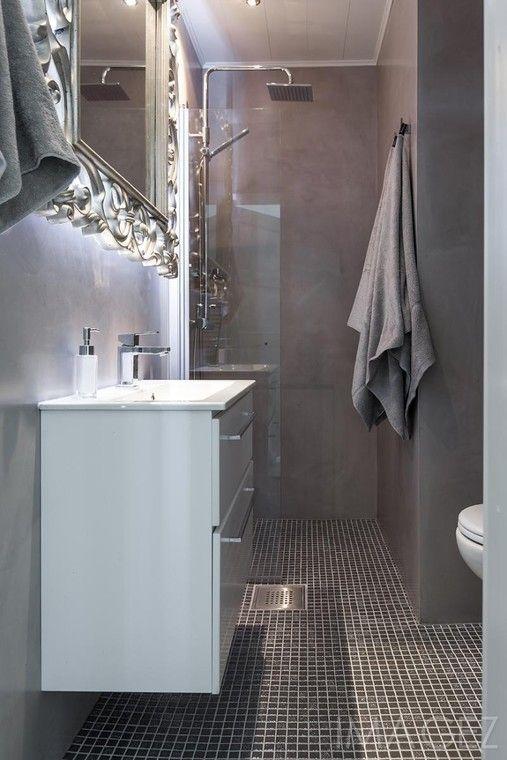 Glamouria ja mikrosementtiä puutalon kylpyhuoneessa