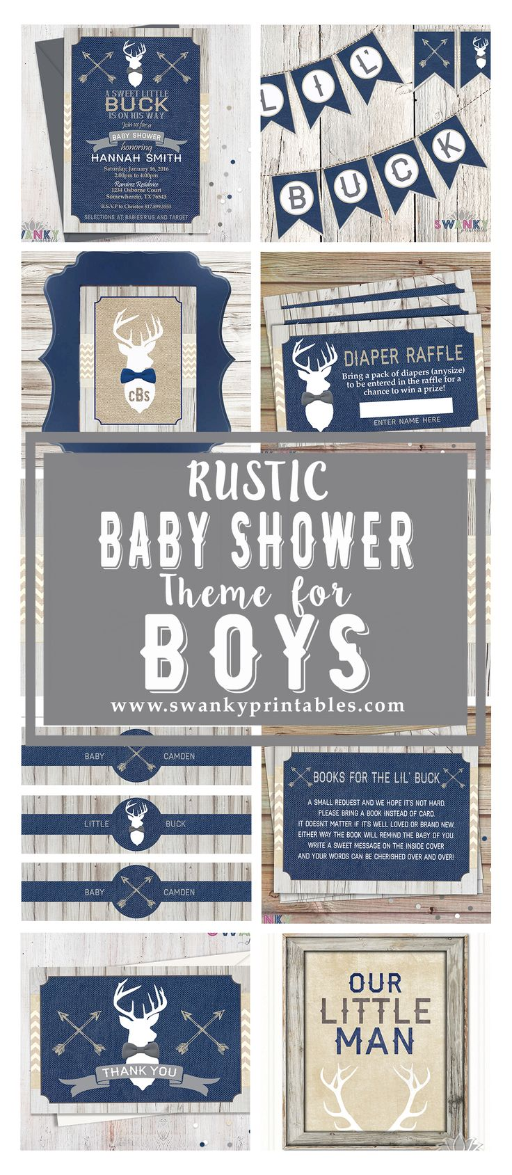 Rustic Deer Baby Shower for Boys. Arrows and Deer Baby Shower Theme. Navy, Gray and Tan Baby Shower. Rustic Burlap Baby Shower Invitations www.swankyprintables.com