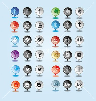 Sleek and shine pin social media icon vector by Fatichah on VectorStock®