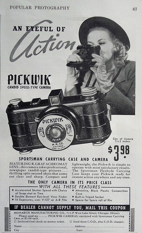 Vintage 1940s Pickwick Candid Type Camera  This is an amazing piece of photography history. The fact that this is NEW in the original box with the instructions tucked underneath the device is totally cool! I am nerding out over it. Please note: This camera has NOT been tested with film. The Pickwik camera was marketed by both the Monarch Manufacturing Company and Galter Products Company in circa 1940s. This common inexpensive candid camera was most likely the more popular Chicago style…