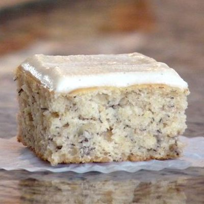 To Die For Banana Cake with Vanilla Bean Frosting. Start to finish, about an hour — and no mixer needed.