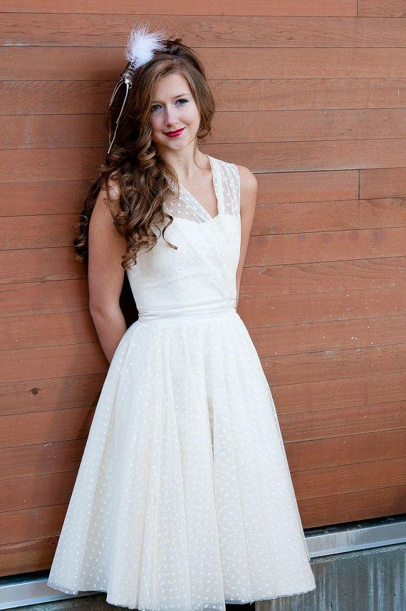 Polka Dot Dress: Wedding Dressses, Teas Length, Polka Dots Dresses, Polka Dots Wedding, Shorts Wedding Dresses, 50S Wedding, Bride, Vintage Inspiration, Vintage Style