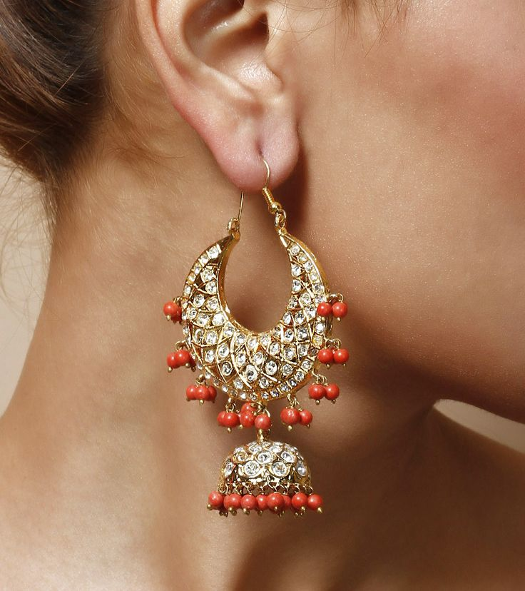 Coral Stone Embellished Jhumki Earrings by Indiatrend Shop now on www.indianroots.com