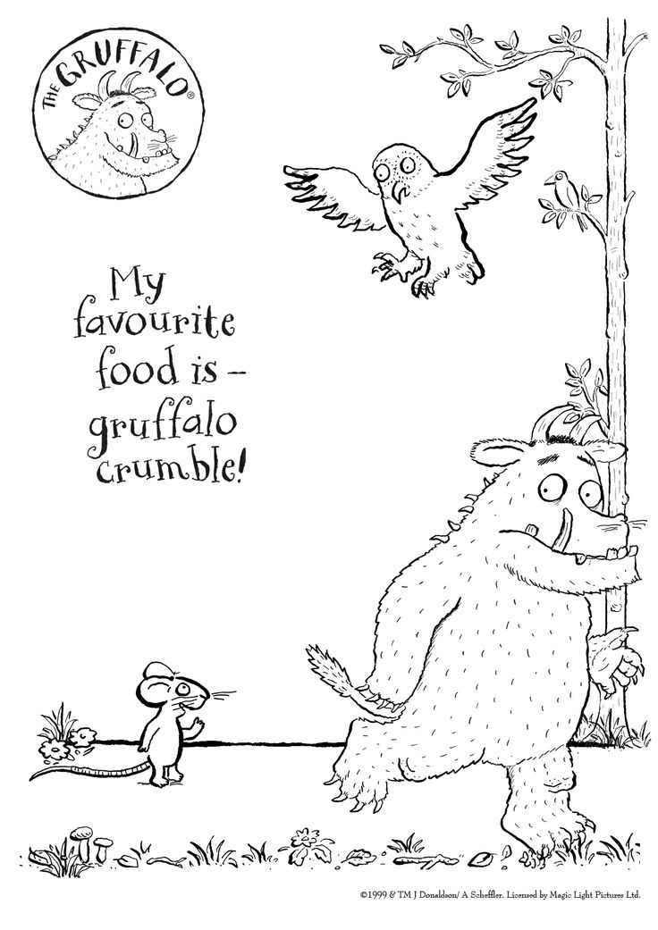 Here's a BRAND NEW colour-in Gruffalo sheet for you to