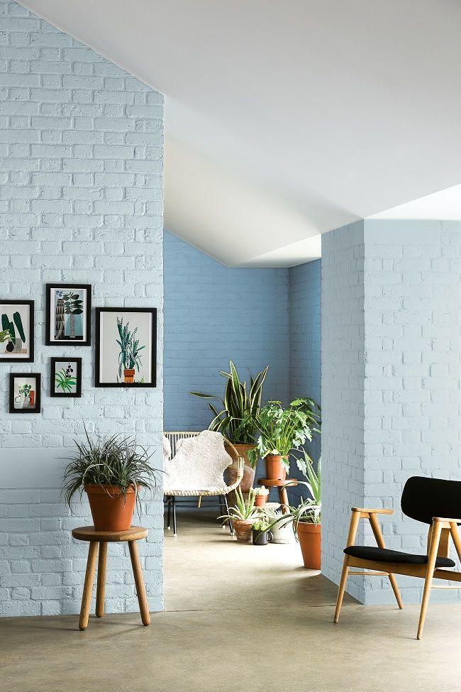 Brick walls painted a pale blue - fresh take on interior color.
